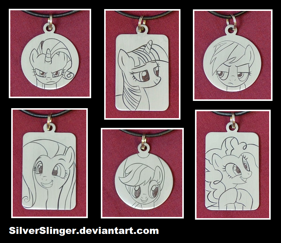Mane 6 Engraved Pendants Version 2 by SilverSlinger