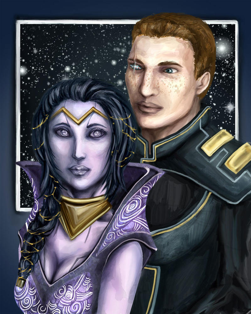 Mass Effect - Tali and Shepard by DaphneArgent