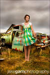 Green Dress, Grey Sky