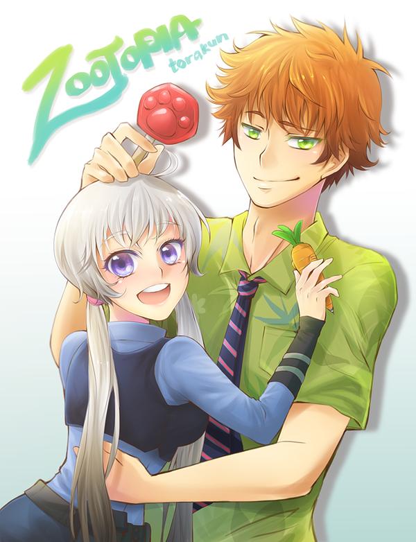 Fanart Judy X Nick Anime Version Zootopia By Torakun14