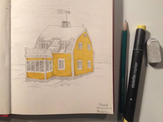 Yellow house in Umea Sweden by PokeponyAquaBubbles