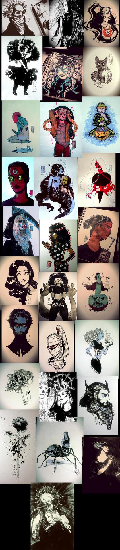 Inktober Art compilation by dark-tarou
