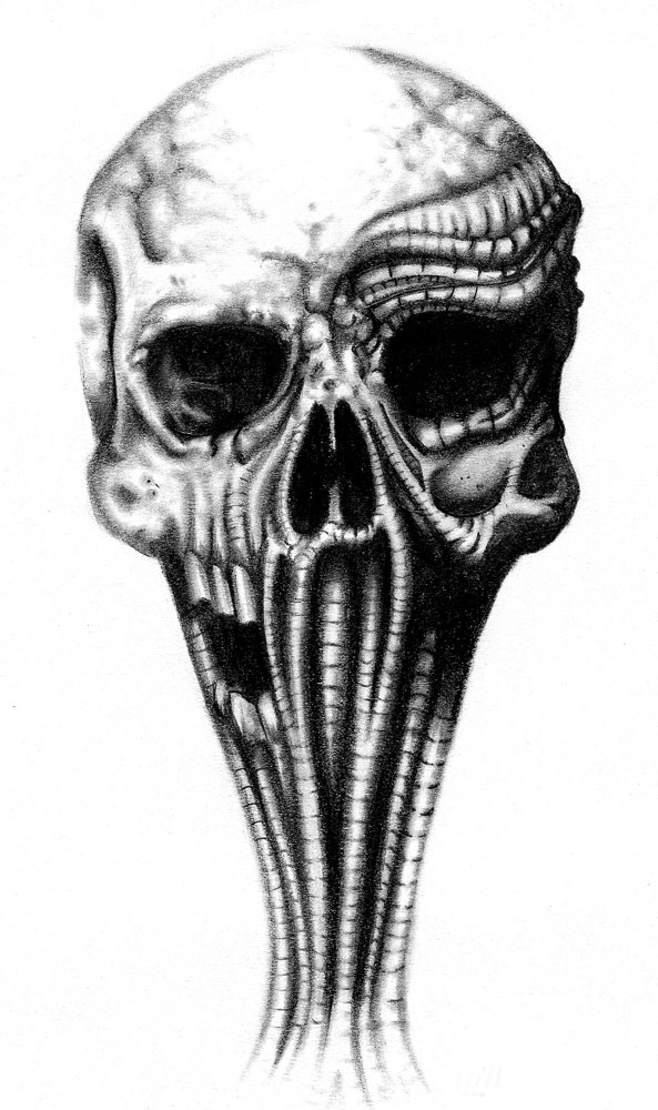 biomech skull by sylviusart on DeviantArt