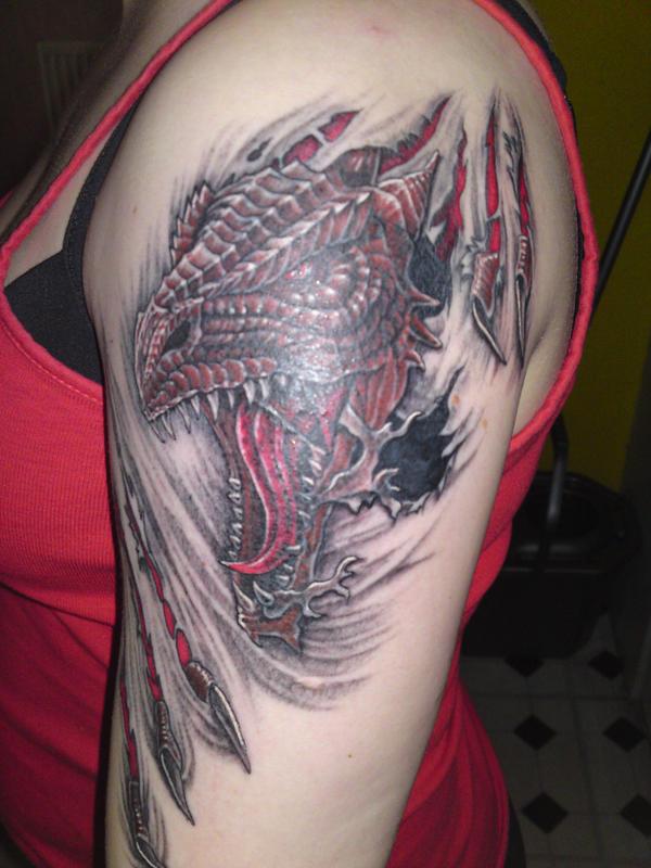 Dragon Tattoo Over Shoulder: My Dragon Rip Tattoo By Fangsalot On DeviantArt