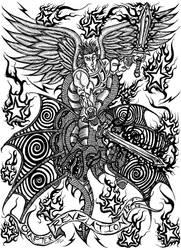 Michael Slaying a Dragon by dawgwelder
