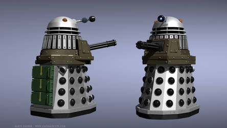 A Dalek with a minigun