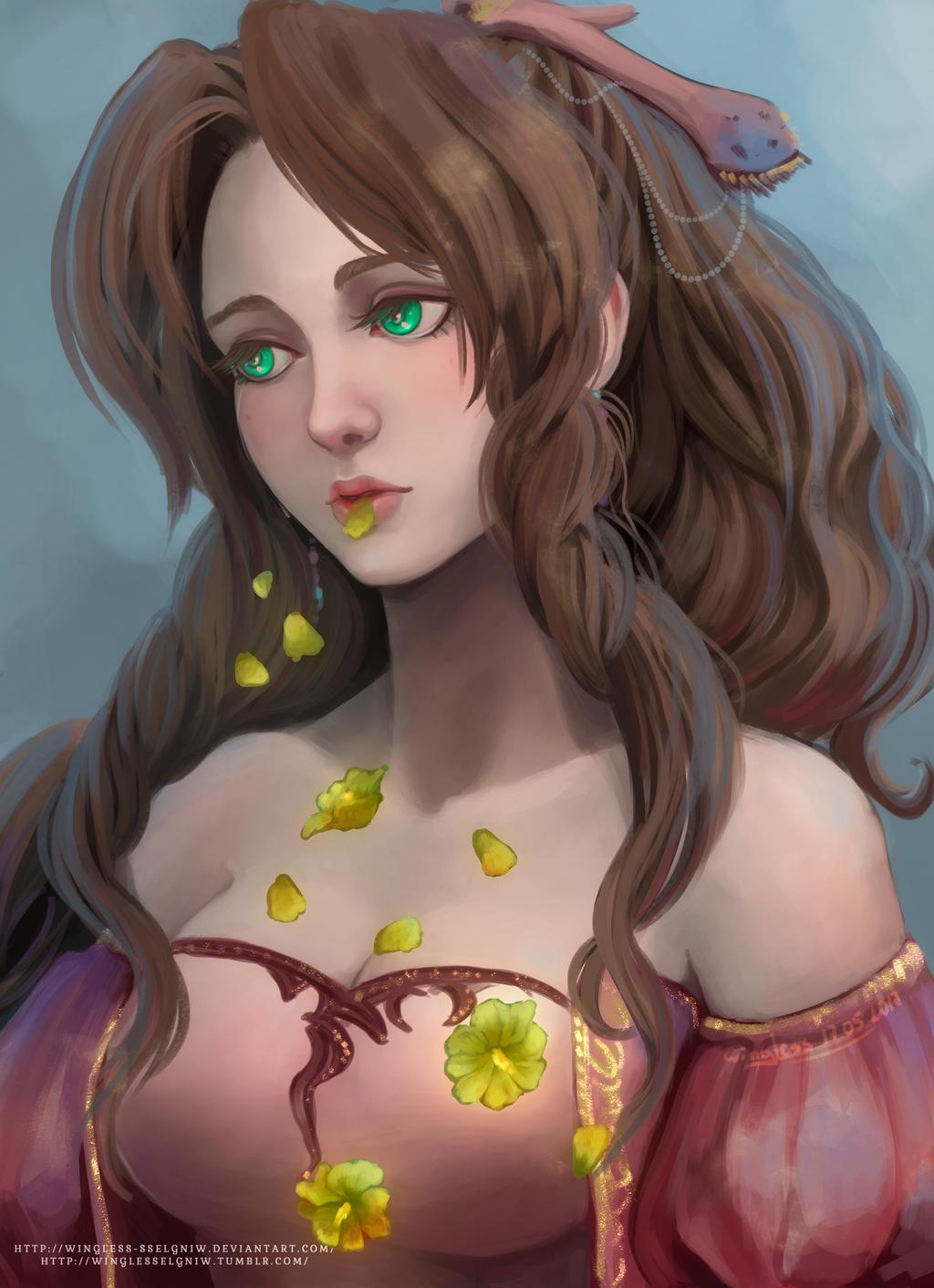 Aerith Hanahaki by Wingless-sselgniW