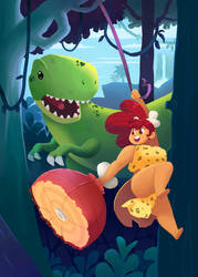Cave Mama in Dinosaur Land by AlOrozco