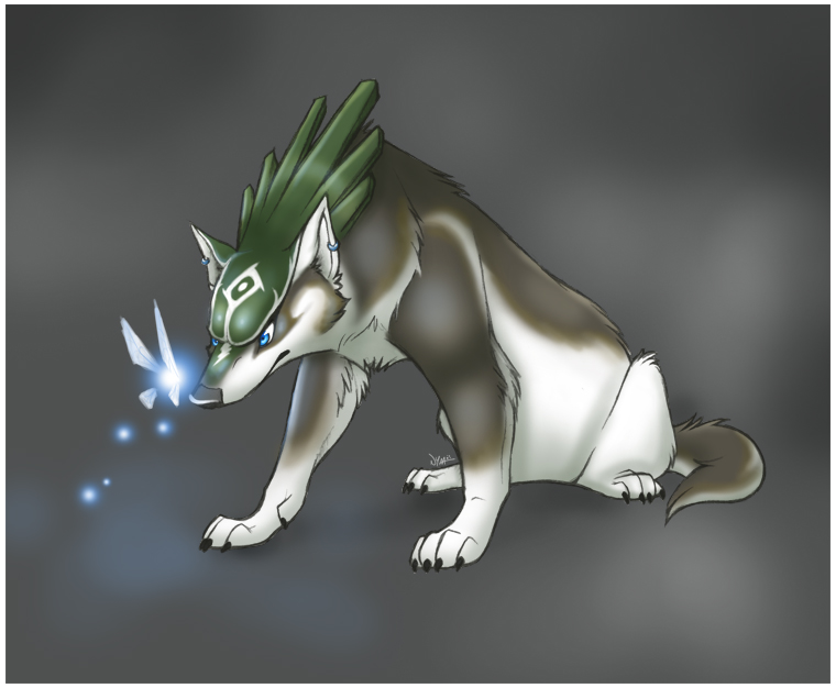 Wolf Link and a Fairy by Nyaasu