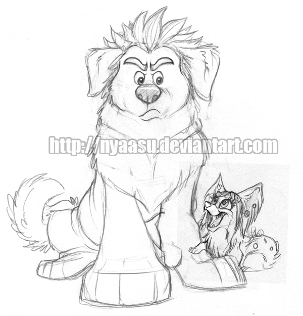 Ralph + Vanellope Dogs Sketch by Nyaasu