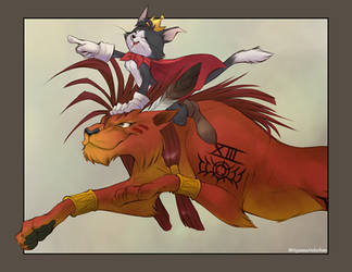Red XIII + Cait Sith by Nyaasu