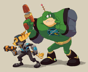 Ratchet and Qwark by nmrbk