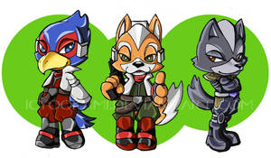 Star Fox, Star Wolf, and Falco