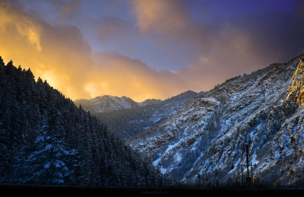 Sunset over a Dusted Canyon by Enkphoto