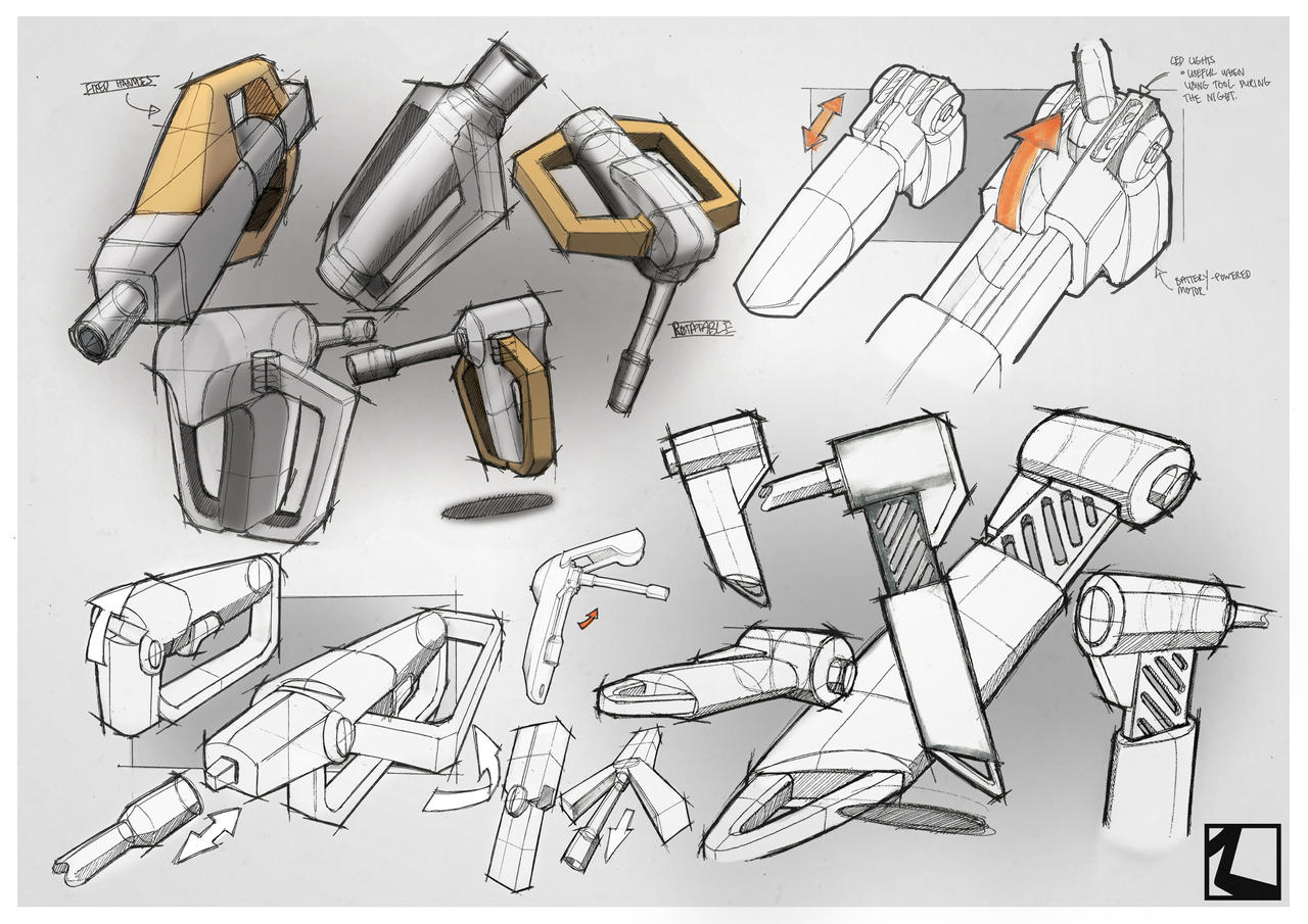 Product Design Line Art : Sketch and render power tool by irrsyah on deviantart