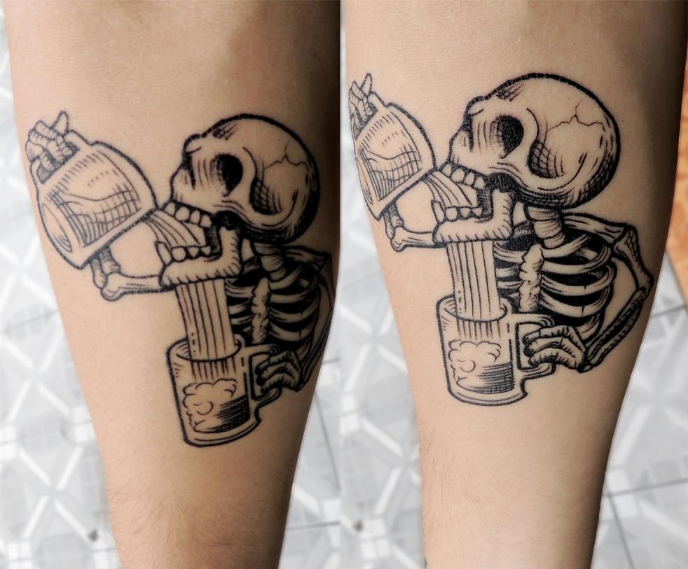 skull drinking tattoo by daniel666krieg on deviantart. Black Bedroom Furniture Sets. Home Design Ideas