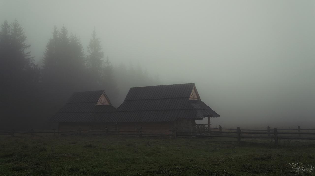 Huts in the fog by kriskeleris