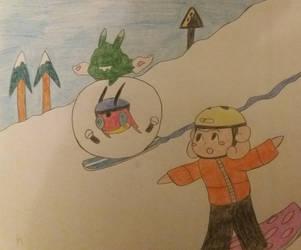 PKMNSkies-Snowboarding and Snowballing by confusedkangaroo