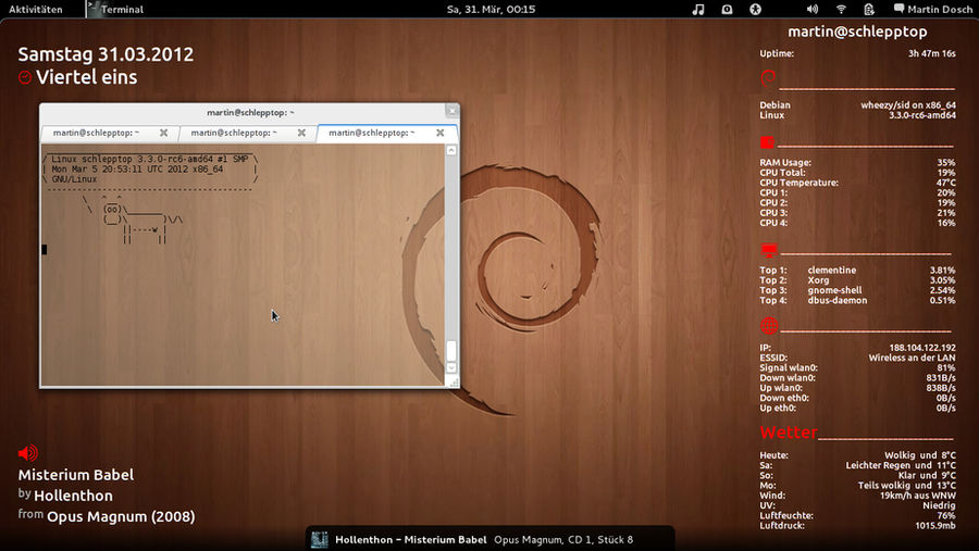 Debian GNU/Linux with Gnome3 and Conky