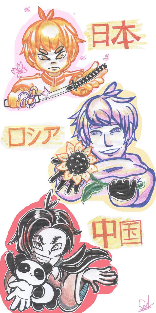 Hetalia - Stickers #2 by CarolconC