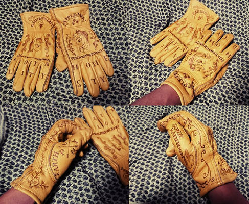 Leather Burning Bike Gloves
