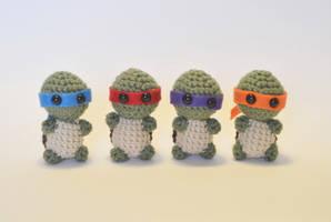 I crocheted tiny ninja turtles!