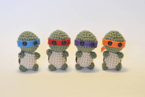 I crocheted tiny ninja turtles!