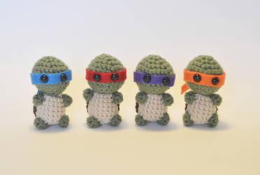 I crocheted tiny ninja turtles! by LoopTeeLoops