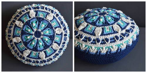 In The Meadow - A crochet overlay mandala pillow