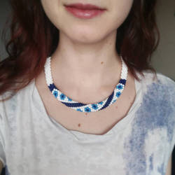 Delft Blue Beaded Necklace
