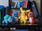 Kanto Starters! (plus Pikachu)