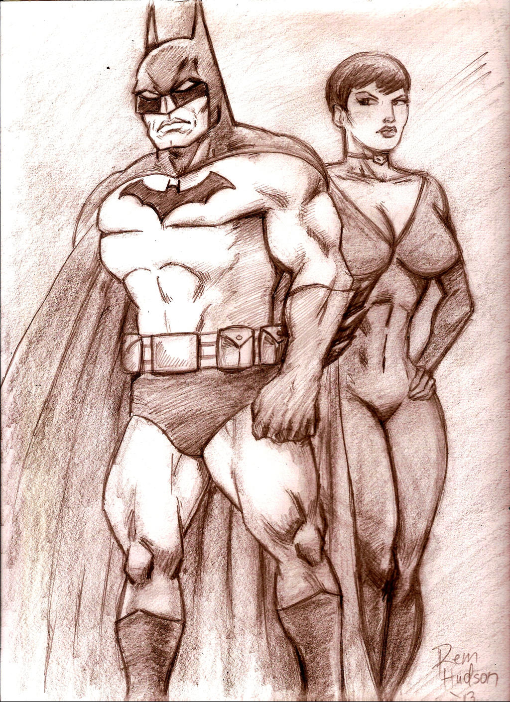 Batman and Selina by MisterHydesSon
