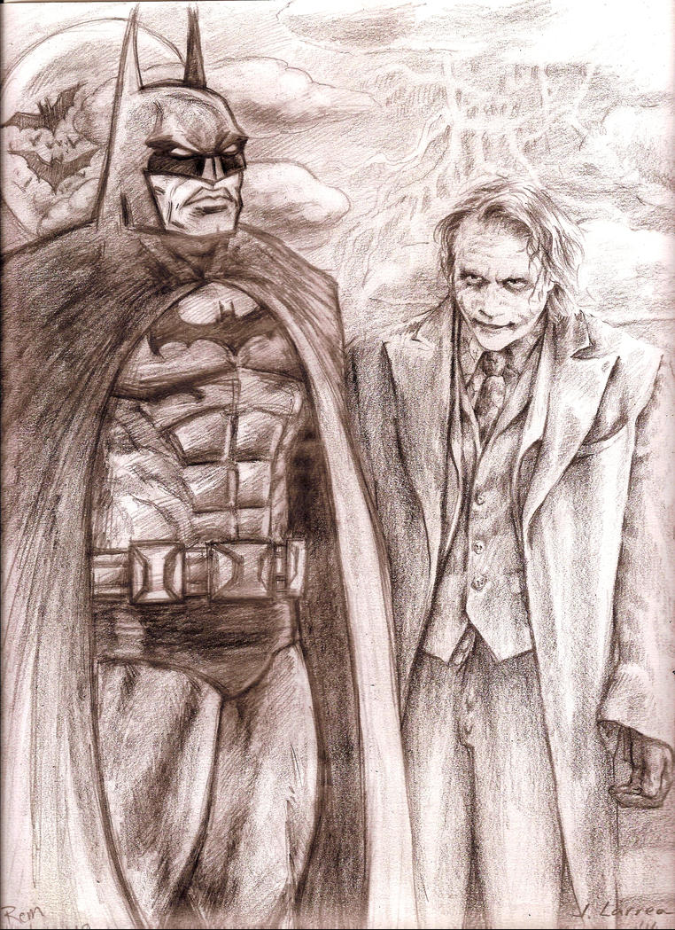 Comic Batman and Heath Ledger Joker by MisterHydesSon