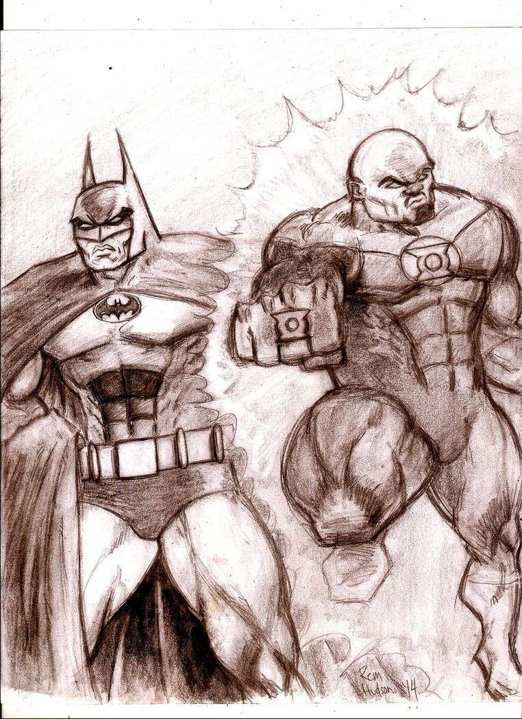 John Stewart and Batman by MisterHydesSon