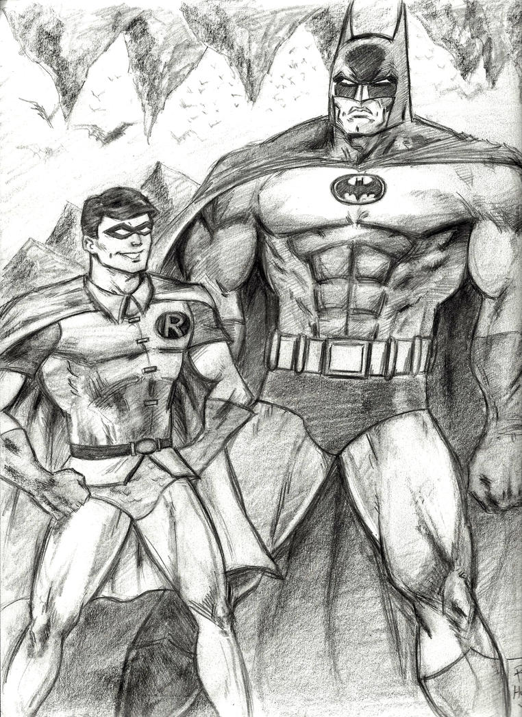 Robin the Boy Wonder and Batman by MisterHydesSon