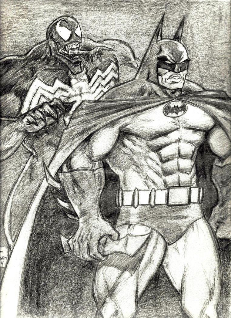 Venom Attacks The Dark Knight by MisterHydesSon