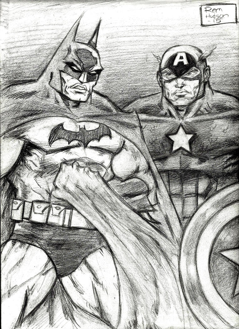 The Dark Knight and Captain America by MisterHydesSon