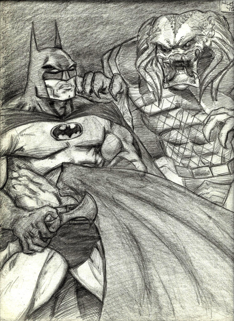 Batman vs The Predator by MisterHydesSon