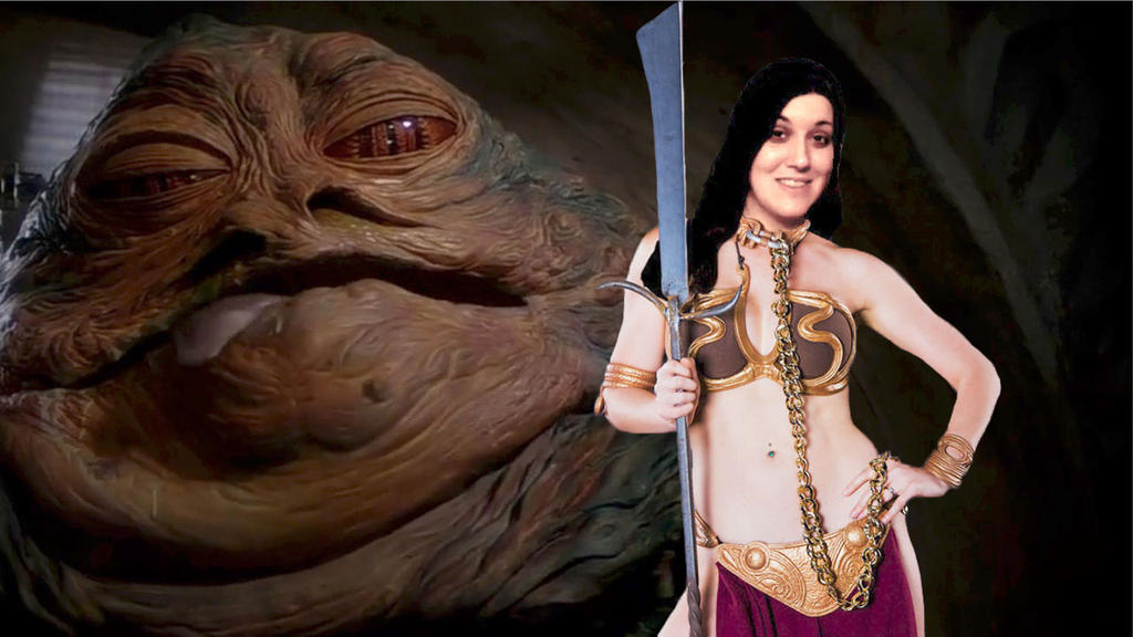 Kattaca As Slave Leia (With Jabba) by RoyPrince