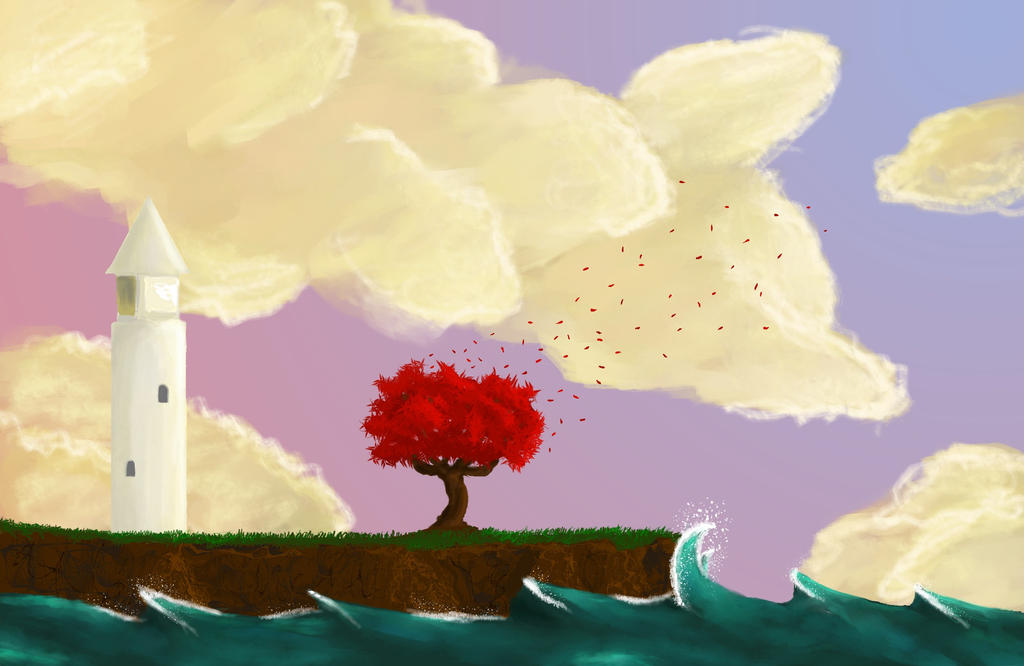 The lighthouse and the tree by Lwenna