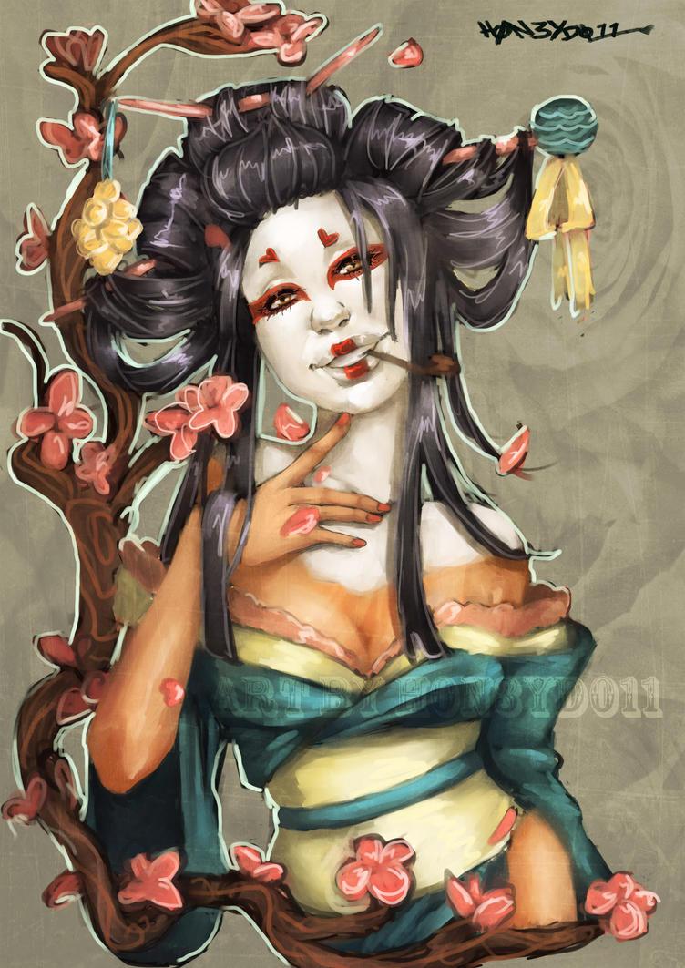 Commission: Geisha by h0n3yd011