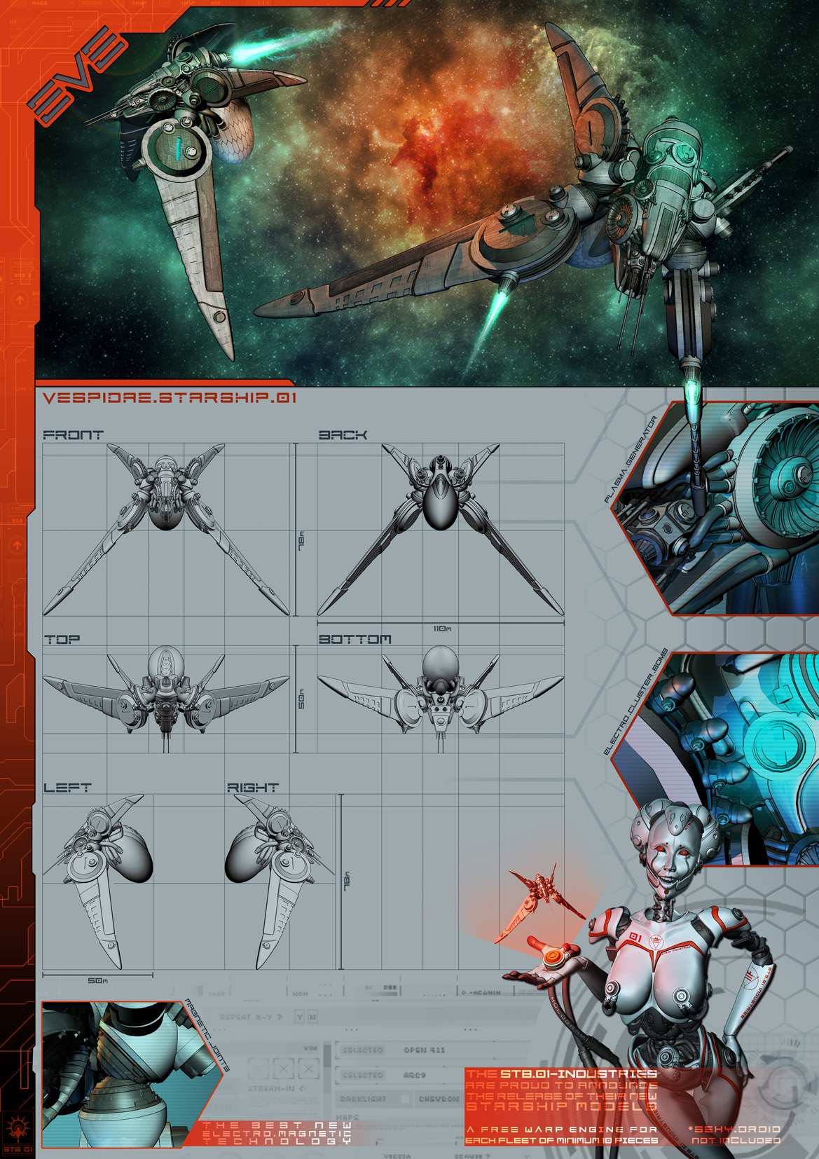EVE: Vespidae Starship by FabioListrani
