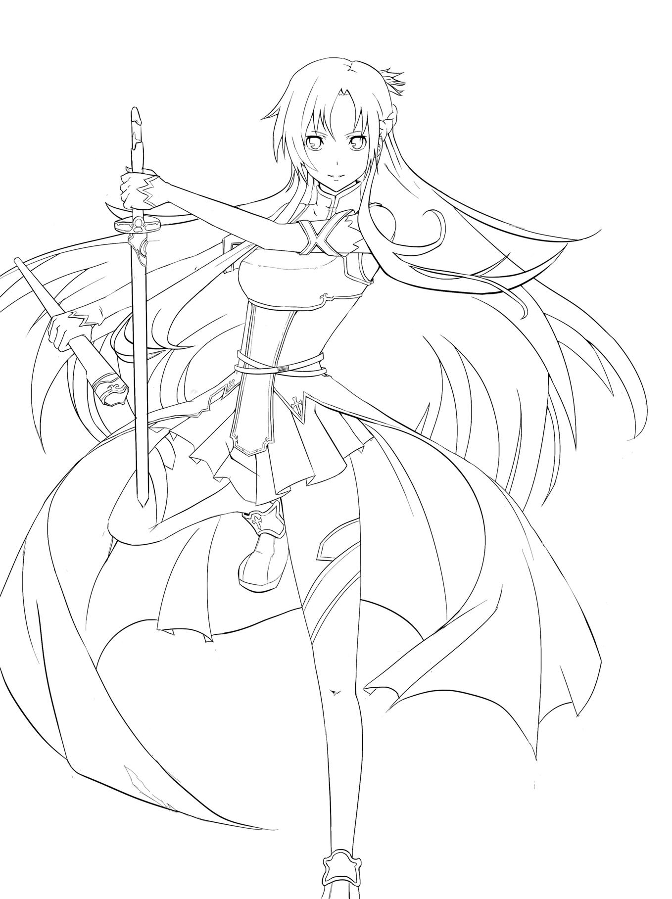 Asuna lineart sword art online by vaghot on deviantart for Sword art online coloring pages