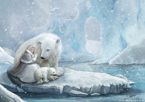 Polar bears family by laura-csajagi