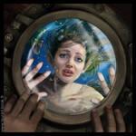 Mermaid through the porthole