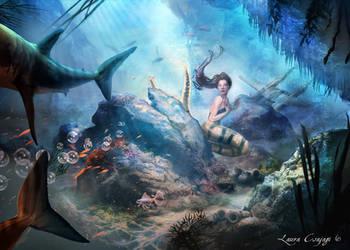 Little mermaid surprised by sharks