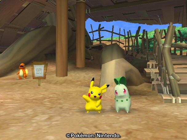 Waving Pikachu with Chikorita by SuperSmashCynderLum