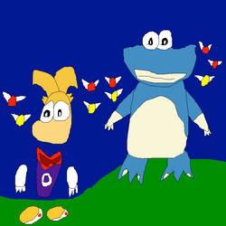 Rayman and Globox by SuperSmashCynderLum