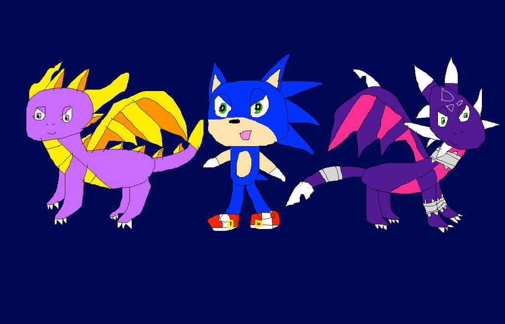 Sonic Spyro And Cynder by SuperSmashCynderLum