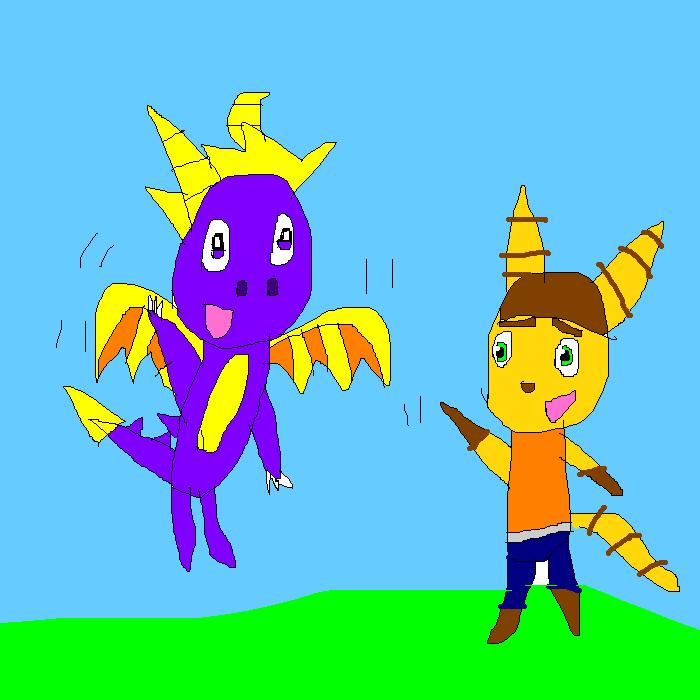 Bday gift- Reignited Spyro and Movie Rachet by SuperSmashCynderLum